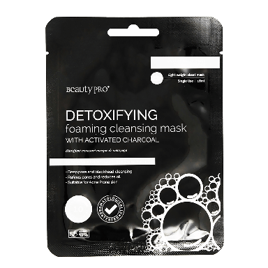 Beauty Pro Detoxifying Foaming Sheet Mask with Activated Charcoal 23g