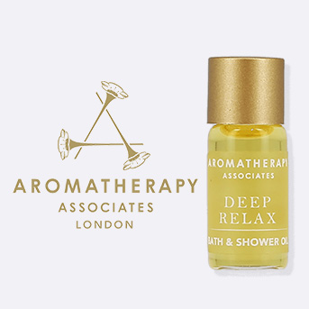 buy 1 or more aromatherapy associates product and receive a free mini deep relax bath oil